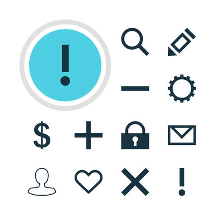 dangerous construction: Vector Illustration Of 12 User Icons. Editable Pack Of Cogwheel, Alert, Seek And Other Elements. Illustration