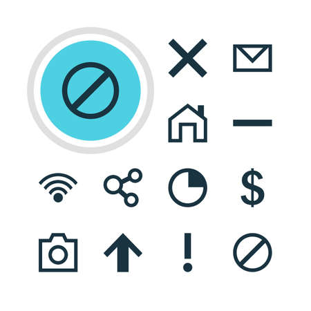 interjection: Vector Illustration Of 12 Interface Icons. Editable Pack Of Access Denied, Stopwatch, Mainpage And Other Elements. Illustration