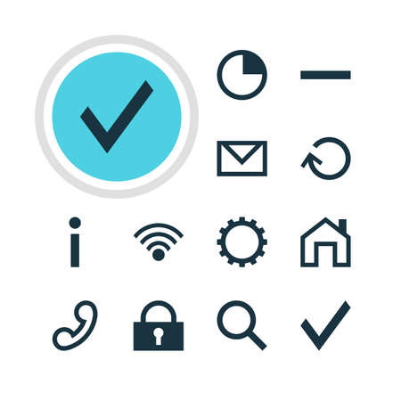 cordless: Vector Illustration Of 12 Interface Icons. Editable Pack Of Minus, Cordless Connection, Seek And Other Elements. Illustration