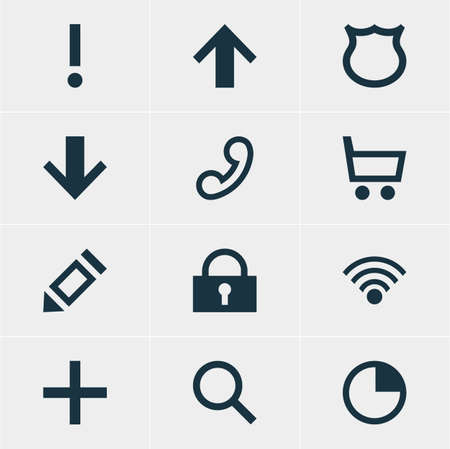 telephonic: Vector Illustration Of 12 User Icons. Editable Pack Of Padlock, Downward, Seek And Other Elements.