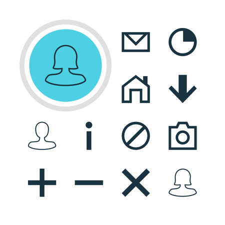 Vector Illustration Of 12 Interface Icons. Editable Pack Of Female User, Access Denied, Letter And Other Elements.
