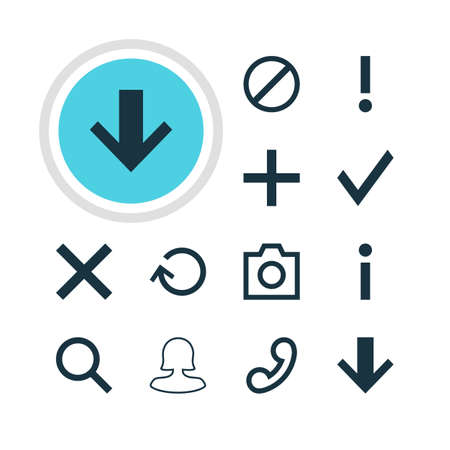 Vector Illustration Of 12 User Icons. Editable Pack Of Seek, Plus, Access Denied And Other Elements. Illustration