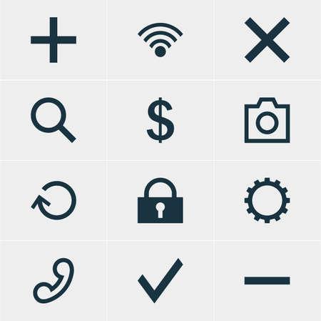 Vector Illustration Of 12 Interface Icons. Editable Pack Of Handset, Seek , Money Making Elements.