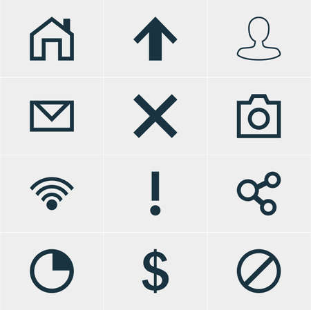 interjection: Vector Illustration Of 12 Interface Icons. Editable Pack Of Letter, Mainpage, Top And Other Elements.