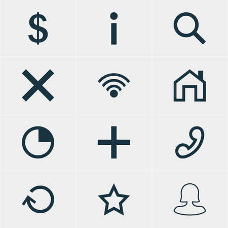Vector Illustration Of 12 Member Icons. Editable Pack Of Handset, Seek , Mainpage Elements.