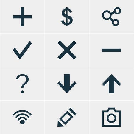 expel: Vector Illustration Of 12 User Icons. Editable Pack Of Wrong, Check, Plus And Other Elements.
