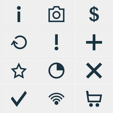 Vector Illustration Of 12 User Icons. Editable Pack Of Wrong, Check, Alert And Other Elements. Illustration