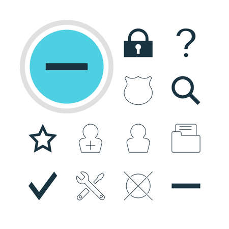 Vector Illustration Of 12 User Icons. Editable Pack Of Padlock, Avatar, Asterisk And Other Elements.