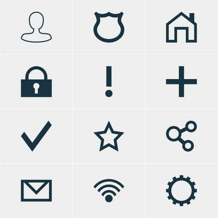 approbation: Vector Illustration Of 12 Interface Icons. Editable Pack Of Letter, Conservation, Padlock And Other Elements.