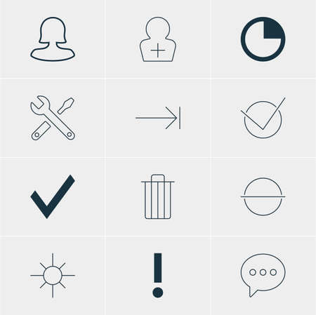 Vector Illustration Of 12 Interface Icons. Editable Pack Of Garbage, Yes, Tabulation Button And Other Elements.