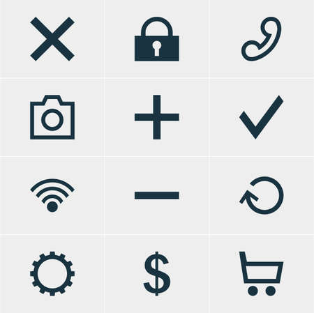 Vector Illustration Of 12 Interface Icons. Editable Pack Of Wrong, Snapshot, Money Making And Other Elements. Illustration