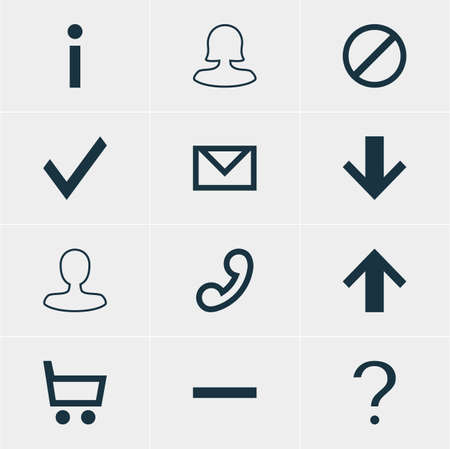 expel: Vector Illustration Of 12 Interface Icons. Editable Pack Of Handset, Letter , Female User Elements. Illustration