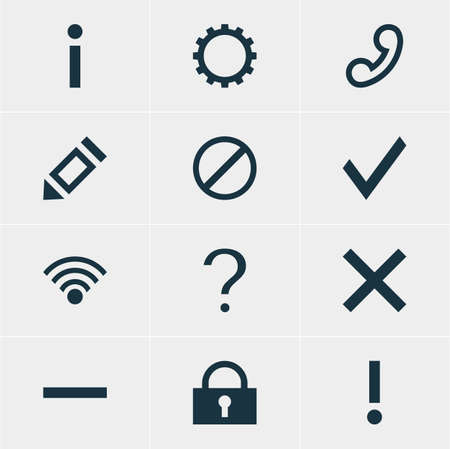 Vector Illustration Of 12 User Icons. Editable Pack Of Info, Cordless Connection, Minus And Other Elements.