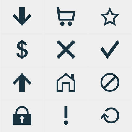 interjection: Vector Illustration Of 12 User Icons. Editable Pack Of Padlock, Alert, Downward And Other Elements. Illustration