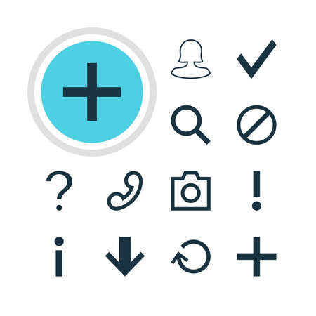 Vector Illustration Of 12 Member Icons. Editable Pack Of Seek, Downward, Access Denied And Other Elements. Illustration