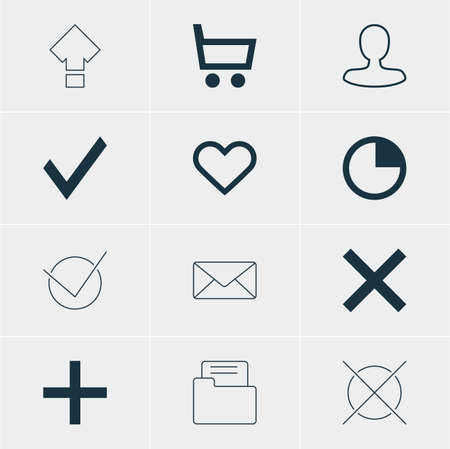 Vector Illustration Of 12 Member Icons. Editable Pack Of Confirm, Wrong, Cancel And Other Elements. Illustration