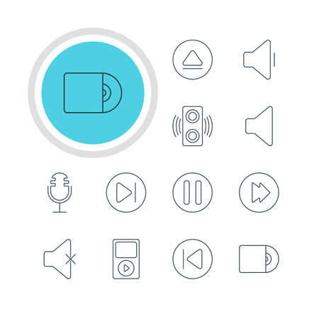 A Vector Illustration Of 12 Melody Icons. Editable Pack Of Preceding, Advanced, Compact Disk And Other Elements.