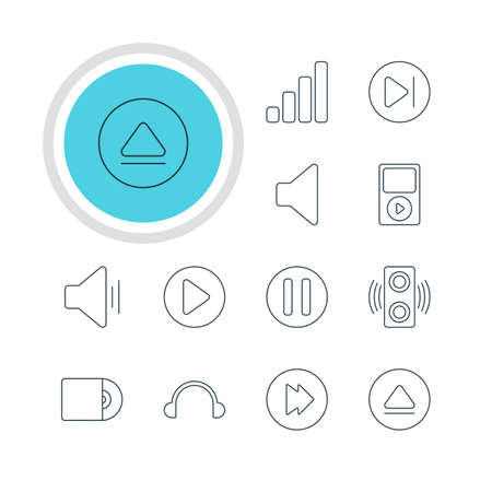 earpiece: A Vector Illustration Of 12 Melody Icons. Editable Pack Of Speaker, Rewind, Subsequent And Other Elements. Illustration