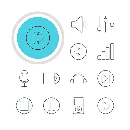 Illustration Of 12 Melody Icons. Editable Pack Of Earphone, Acoustic, Audio And Other Elements.
