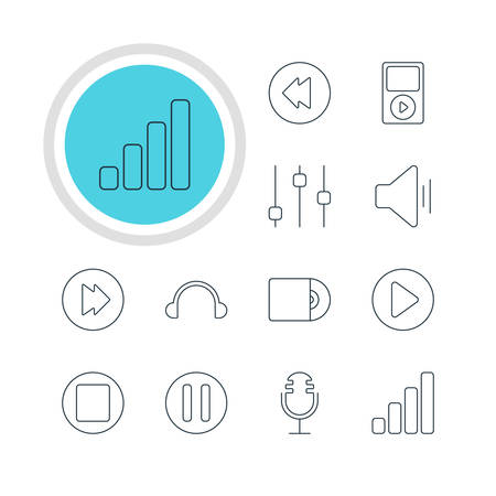 earpiece: Illustration Of 12 Melody Icons. Editable Pack Of Acoustic, Mp3, Lag And Other Elements.