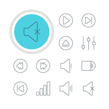 Illustration Of 12 Music Icons. Editable Pack Of Soundless, Audio, Preceding And Other Elements.
