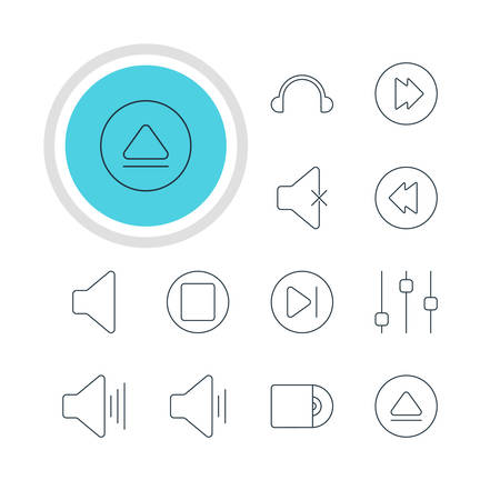 reversing: Vector Illustration Of 12 Music Icons. Editable Pack Of Soundless, Stabilizer, Reversing And Other Elements. Illustration