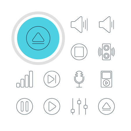 subsequent: Vector Illustration Of 12 Music Icons. Editable Pack Of Rewind, Pause, Amplifier And Other Elements.