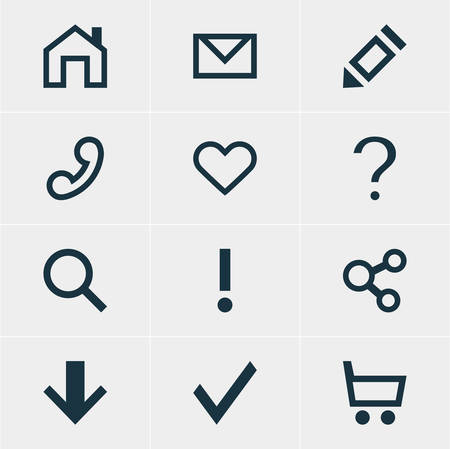 interjection: Vector Illustration Of 12 Interface Icons. Editable Pack Of Seek, Wheelbarrow, Publish And Other Elements.