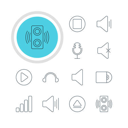 Vector Illustration Of 12 Melody Icons. Editable Pack Of Mike, Soundless, Compact Disk And Other Elements.