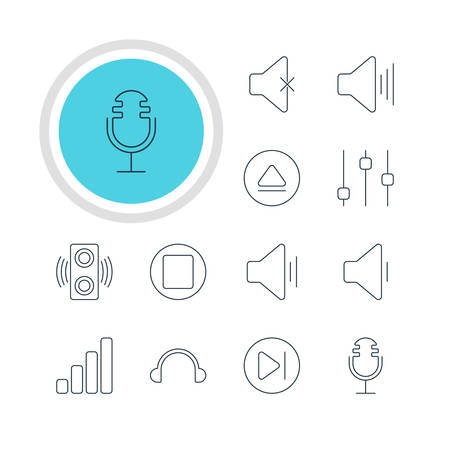 subsequent: Vector Illustration Of 12 Melody Icons. Editable Pack Of Rewind, Amplifier, Stabilizer And Other Elements.