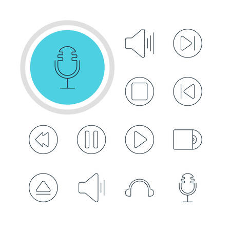 dvd rom: Vector Illustration Of 12 Melody Icons. Editable Pack Of Lag, Rewind, Earphone And Other Elements. Illustration