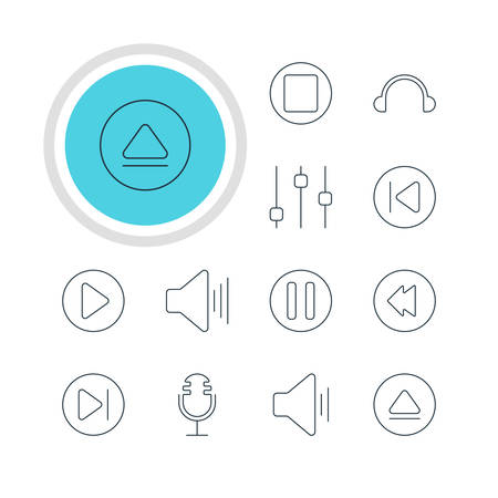 subsequent: Vector Illustration Of 12 Music Icons. Editable Pack Of Start, Earphone, Subsequent And Other Elements. Illustration