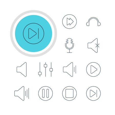 subsequent: Vector Illustration Of 12 Melody Icons. Editable Pack Of Audio, Earphone, Volume Up And Other Elements. Illustration