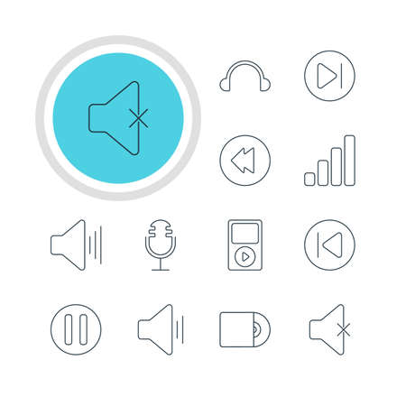 Vector Illustration Of 12 Music Icons. Editable Pack Of Audio, Soundless, Reversing And Other Elements.