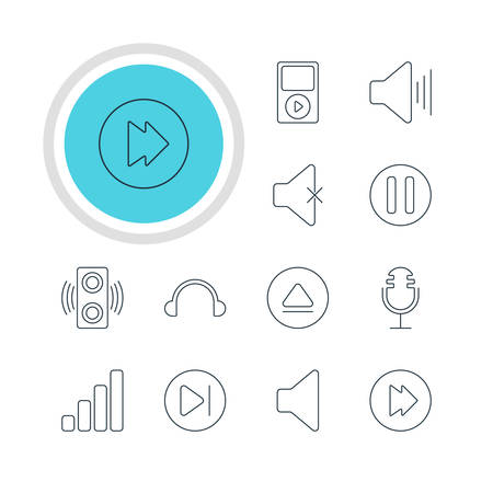 Vector Illustration Of 12 Music Icons. Editable Pack Of Amplifier, Volume Up, Mp3 And Other Elements.