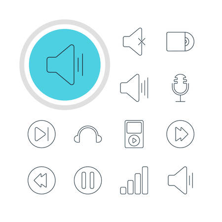 subsequent: Vector Illustration Of 12 Melody Icons. Editable Pack Of Subsequent, Lag, Volume Up And Other Elements. Illustration