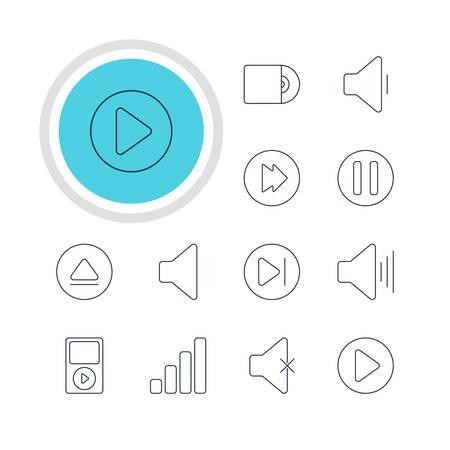 Illustrazione vettoriale di 12 icone musicali. Pacchetto modificabile di Avanzato, Inizio, Ritardo e altri elementi.