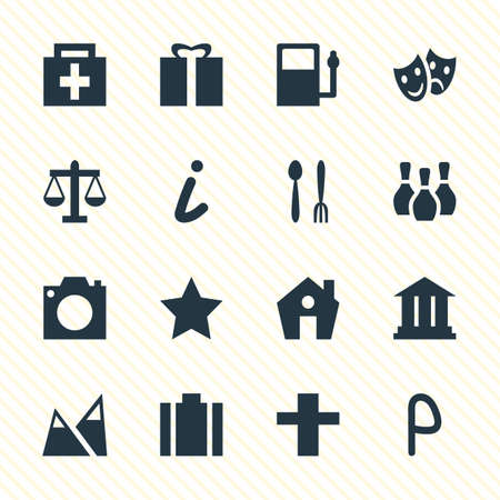 Vector Illustration Of 16 Travel Icons. Editable Pack Of Cross, Skittles, Cafe And Other Elements.