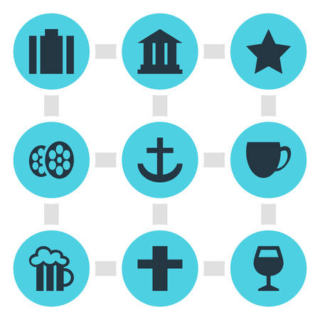 Vector Illustration Of 9 Location Icons. Editable Pack Of Wineglass, University, Film And Other Elements.