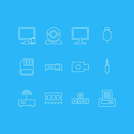 Vector Illustration Of 12 Computer Icons. Editable Pack Of Storage, Web Camera, Input Jack And Other Elements. Illustration