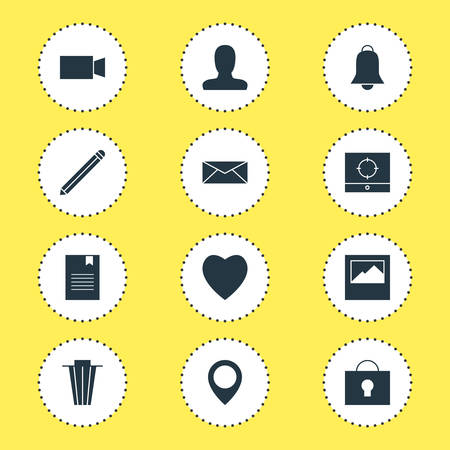 Vector Illustration Of 12 Online Icons. Editable Pack Of Notification, Letter, Keyhole And Other Elements.
