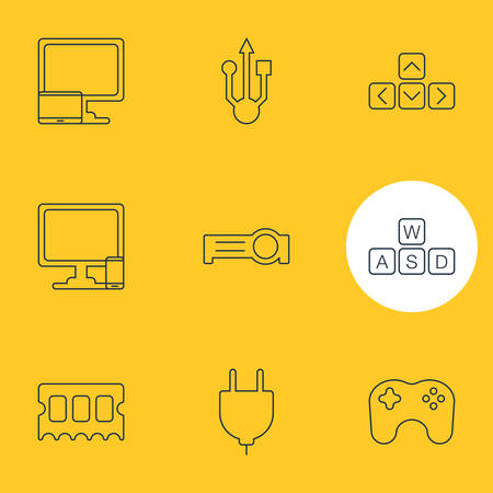 Vector Illustration Of 9 Laptop Icons. Editable Pack Of Memory Chip, Presentation, Tablet With PC And Other Elements.