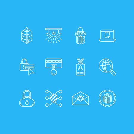 Vector Illustration Of 12 Data Icons. Editable Pack Of Confidentiality Options, Account Data, Key Collection And Other Elements. Illustration