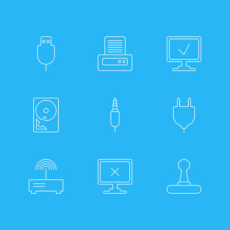 Vector Illustration Of 9 Computer Icons. Editable Pack Of Hard Drive Disk, Input Jack, Online Computer And Other Elements. Illustration