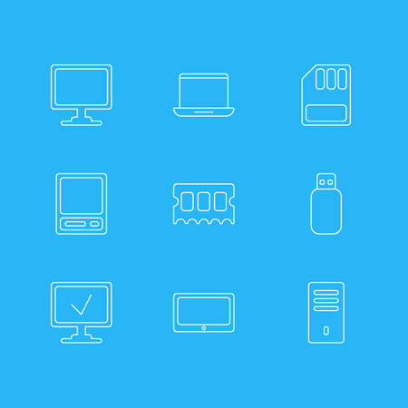 Vector Illustration Of 9 Laptop Icons. Editable Pack Of Storage, Pda, Tablet And Other Elements. Illustration