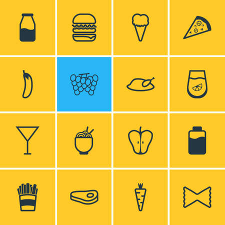 cruet: Vector Illustration Of 16 Cooking Icons. Editable Pack Of Farfalle, Cruet, Sundae And Other Elements.