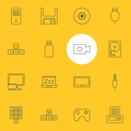 Vector Illustration Of 16 Laptop Icons. Editable Pack Of Input Jack, Gamepad, Diskette And Other Elements.