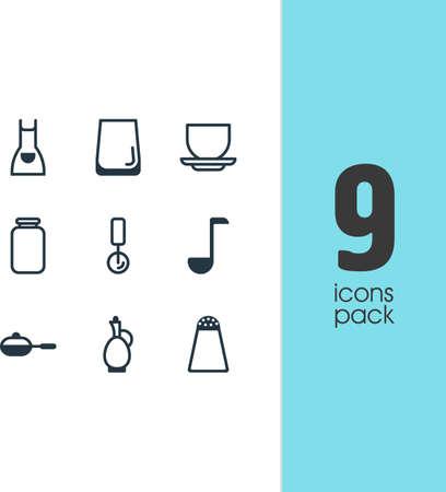 Vektor-Illustration von 9 Geschirr Symbole. Bearbeitbare Packung Runde Slicer, Kittel, Glass Cup und andere Elemente. Standard-Bild - 77501535