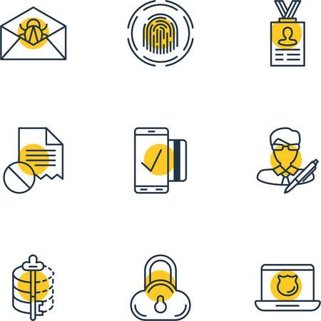 valid: Vector Illustration Of 9 Data Icons. Editable Pack Of Safe Storage, Encoder, Data Error And Other Elements. Illustration