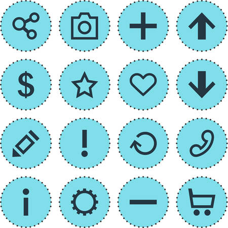 Vector Illustration Of 16 Interface Icons. Editable Pack Of Snapshot, Top, Plus And Other Elements. Illustration
